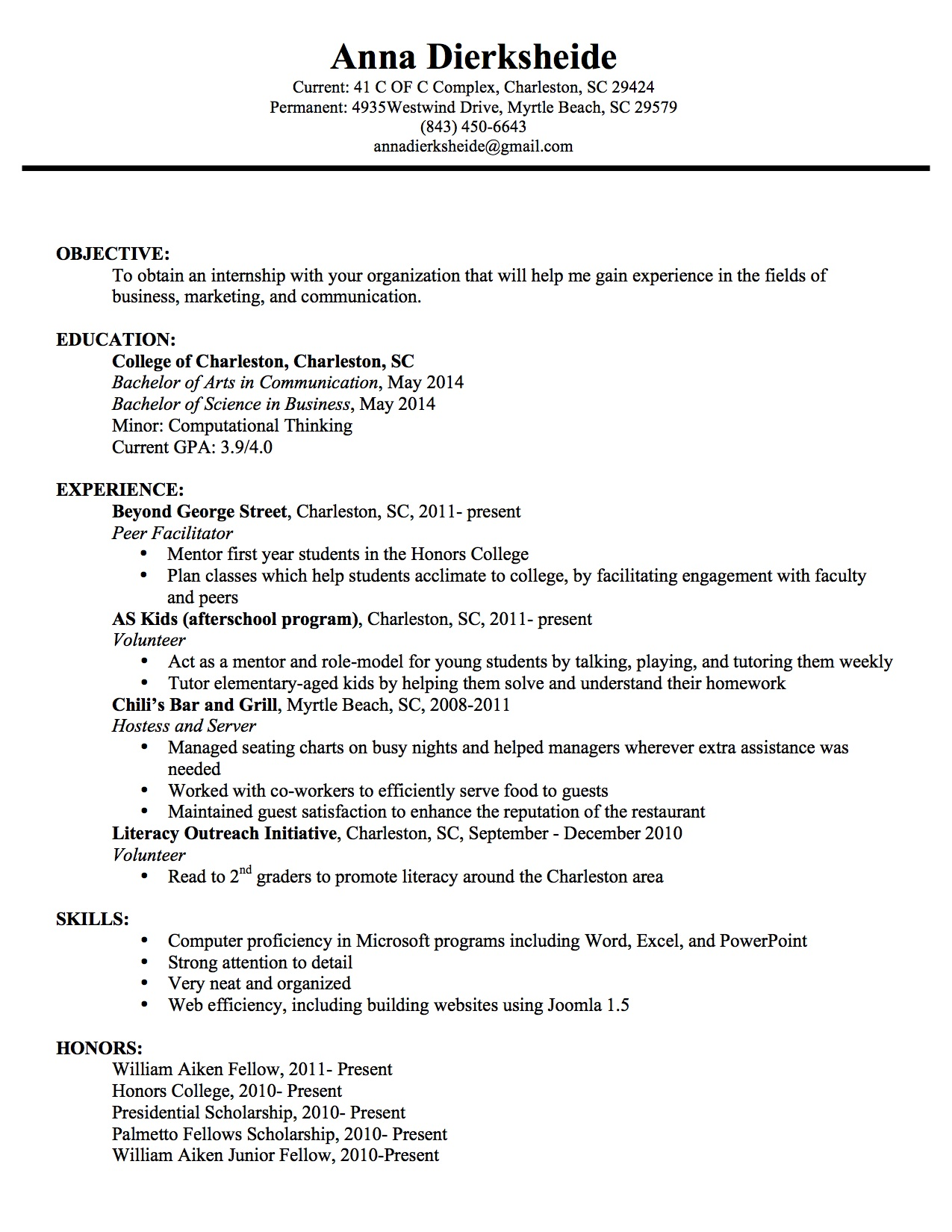 Sophomore in college resume